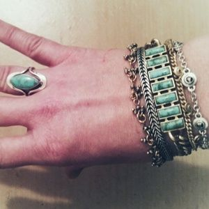Lucky Brand Turquoise Bracelet Silver and Gold
